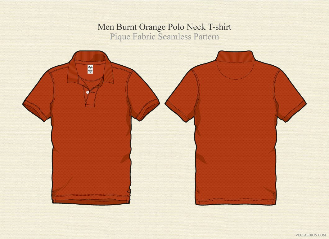 Men burnt orange polo shirt illustrations creative market for Polo shirt design template