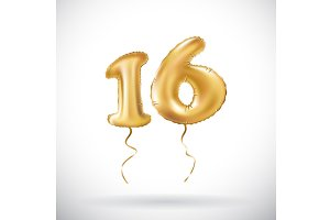 Golden number 16 metallic balloon