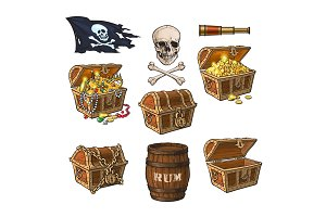 Pirate objects, treasure chests, flag, rum barrel
