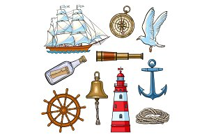 Cartoon nautical elements, vector illustration
