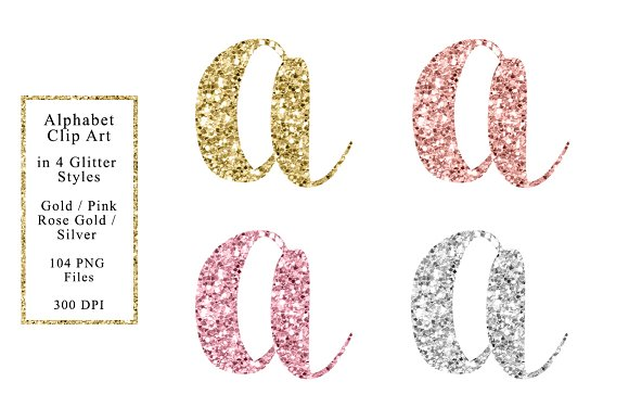 Sparkle Alphabet In 4 Colors