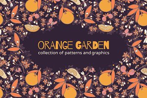 Orange garden. Set of fruit patterns