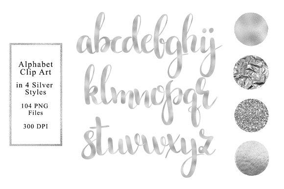 Alphabet In 4 Silver Styles