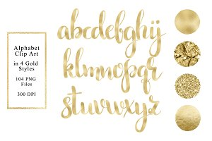 Alphabet in 4 Gold Styles