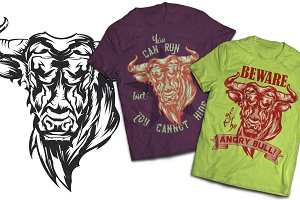Angry Bull T-shirts And Poster Label