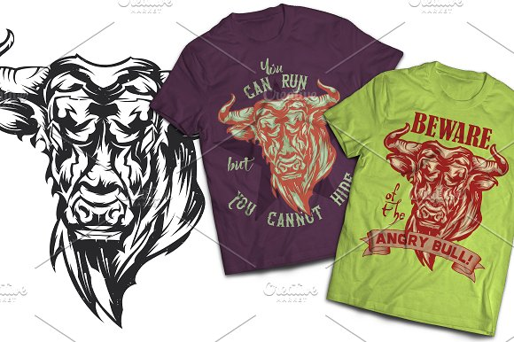 Angry Bull T-shirts And Pos-Graphicriver中文最全的素材分享平台