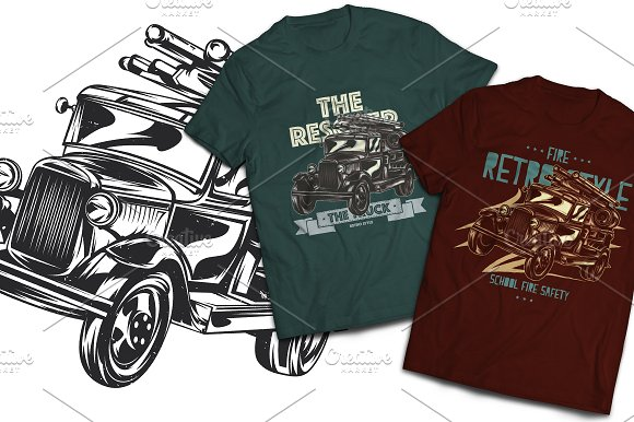 Firetruck T-shirts And Poster Labels