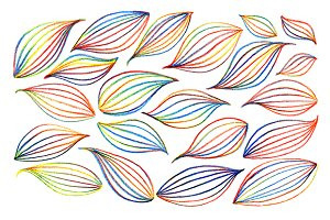 Colorful rainbow leaf vector art