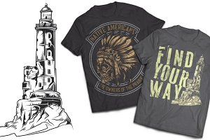 Lighthouse T-shirts And Poster Label