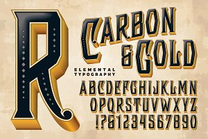 Lettering Design: Carbon & Gold