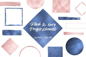 Blush & Navy Design Elements