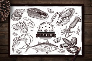 Seafood hand-drawn set