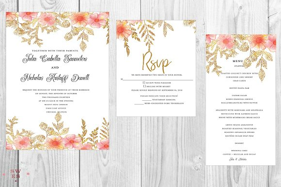 Peachy Love Wedding Invitation