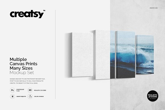 Download Multiple Canvas Prints Mockup Set