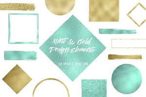 Mint & Gold Design Elements
