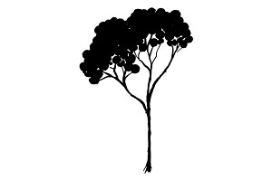 Tree silhouette vector line art