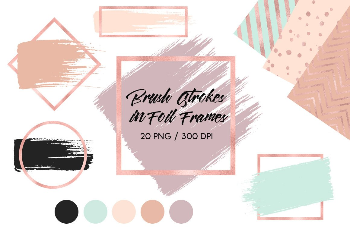 Brush Strokes In Rose Gold Frames Graphic Objects Creative Market