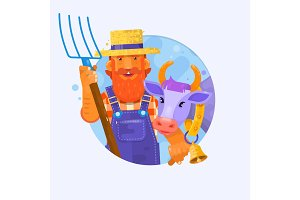 Cute cartoon farmer w with smiling cow. Characters for mascot design. Vector illustration
