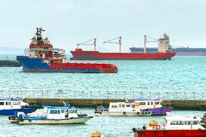 Singapore harbor full of ships