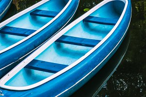Canoes for hire on the lake in municipal city park. Hamburg