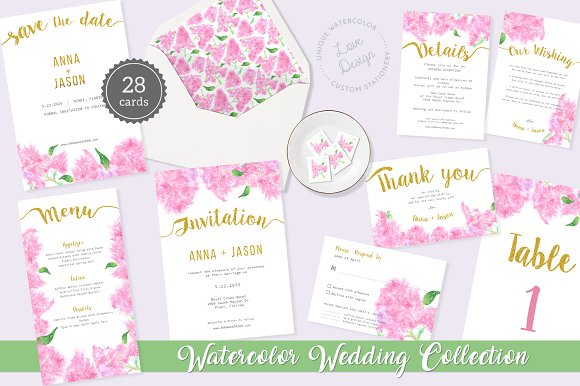 Pink Lilac Watercolor Wedding Suite-Graphicriver中文最全的素材分享平台