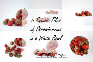 6 Square Tiles of Strawberries