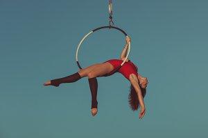 Woman aerial acrobat.