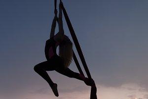 Woman's silhouette in air.