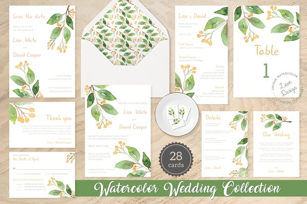 Invitation Templates: Love Design Stationery - Floral Watercolor Wedding Suite