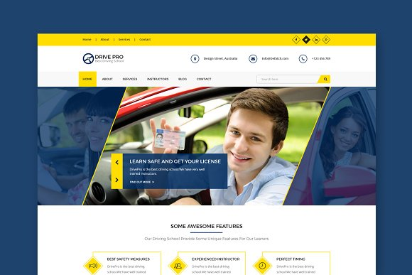 Drive Driving School HTML Template