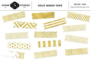 Gold Foil Washi Tape Clip Art Set