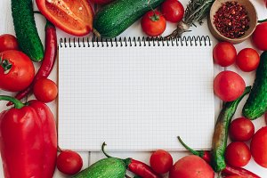 Notebook with a recipe.