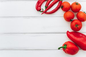 Red pepper, tomatoes and chilies