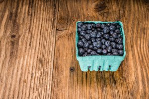 Blueberries in small baskets