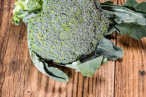 Fresh broccoli on a table