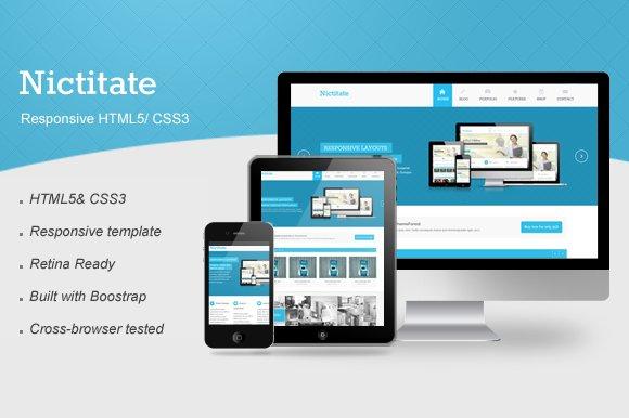 Nictitate – Responsive HTML5 ~ Website Templates ~ Creative Market