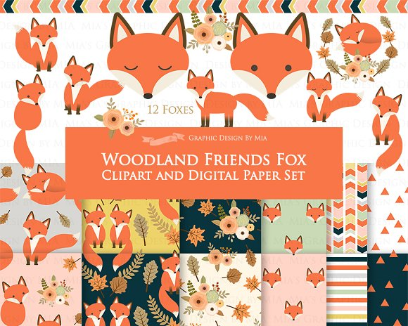 Red Fox Clipart Pattern