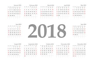 Calendar 2018 year horizontal