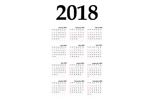 Calendar 2018 year vertical