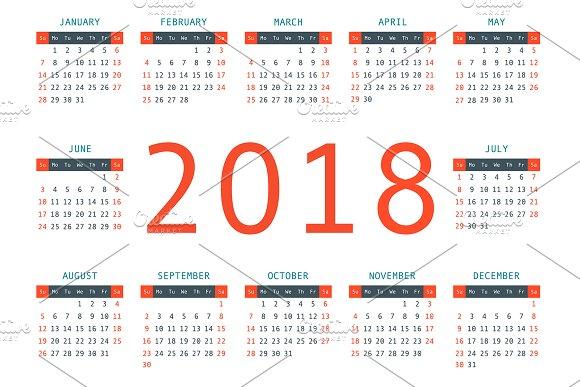 Calendar 2018 Year Horizontal