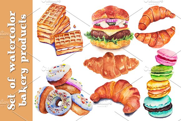 Set Of Watercolor Bakery Products