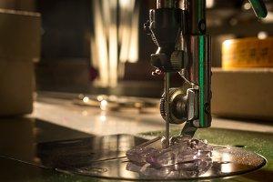 Sewing machine. Sewing work shop