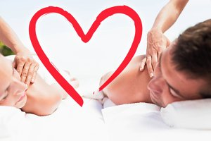 Composite image of happy couple back massage love hearts
