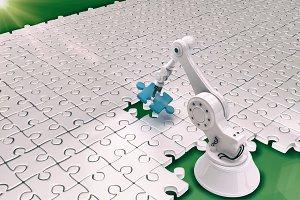 Robot setting up puzzle 3d