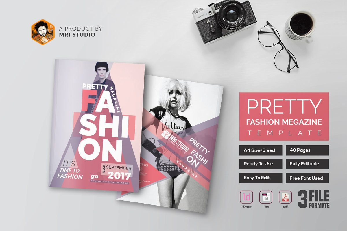 PRETTY Fashion Magazine Template ~ Magazine Templates ~ Creative Market