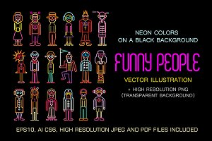 Neon People Icon Set