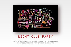 Night Club Party vector illustration