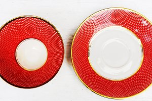 Retro Red Tea Cup and Saucer
