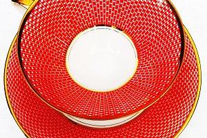 Retro Red Empty Teacup