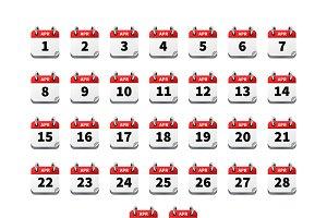 Big set icons of calendar